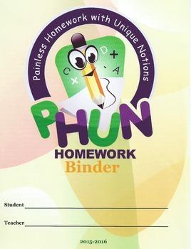 Binder Covers for PHUN Homework Binders