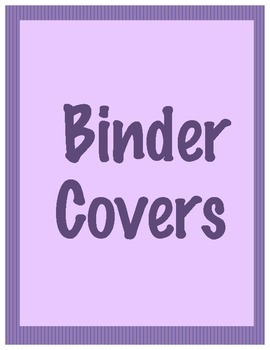 Binder Covers or Dividers