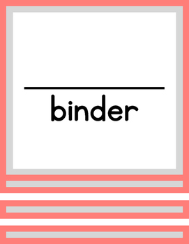 Binder Dividers & Covers (for student take home organizational binders)