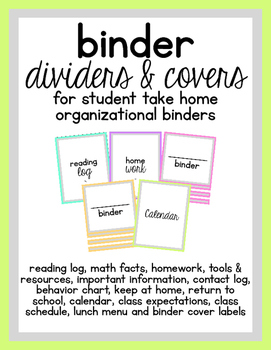 Binder Dividers & Covers (for student take home organizati