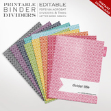 Printable Binder Dividers - Editable