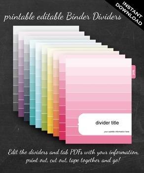Binder Dividers - Printable Editable Rainbow Ombre Binder Set