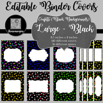 Binder/Document Covers & Spines - Confetti: Black Backgrounds (Large)