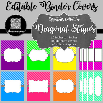 Binder/Document Covers & Spines - Essentials: Diagonal Stripes