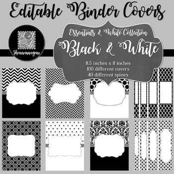 Binder/Document Covers & Spines - Essentials & White: Black & White
