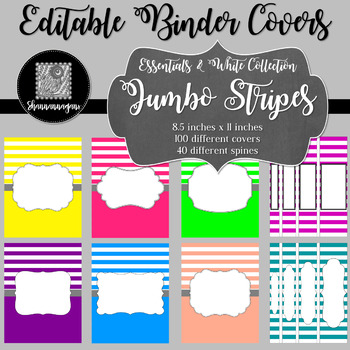 Binder/Document Covers & Spines - Essentials & White: Jumbo Stripes