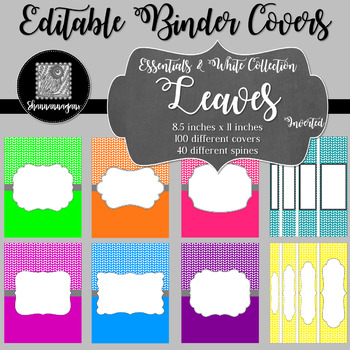 Binder/Document Covers & Spines - Essentials & White: Leaves (Inverted)