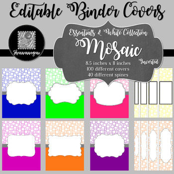 Binder/Document Covers & Spines - Essentials & White: Mosaic (Inverted)