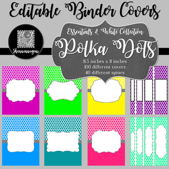 Binder/Document Covers & Spines - Essentials & White: Polka Dots