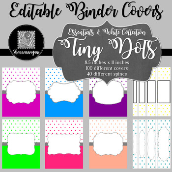 Binder/Document Covers & Spines - Essentials & White: Tiny Dots