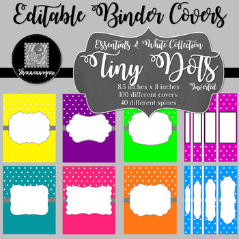 Binder/Document Covers & Spines - Essentials & White: Tiny Dots (Inverted)