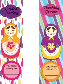 Binder Folder Covers Babushka Doll Theme with Spines