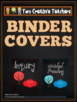 Binder Folder Covers Chalkboard Theme with Spines