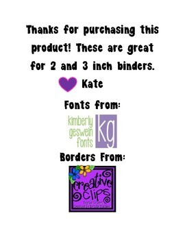 Binder Labels - Spine and Cover Inserts - Rainbow