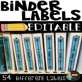 binder labels spine and front cover editable by bobbi bates tpt