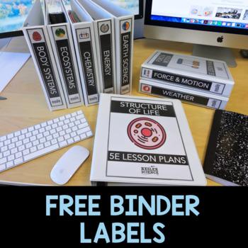 Binder Labels for Kesler Science Station Labs and 5E Lessons