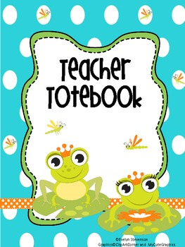Binder Little Green Frog Teacher Totebook