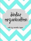 Binder Organization (Turquoise Chevron)
