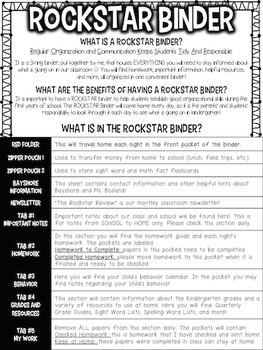 Binder Pack for Students - Rockstar or Rock and Roll Theme {Editable}