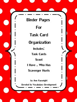 Binder Pages for Task Card Organization