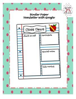 Binder Paper Newsletter with Google