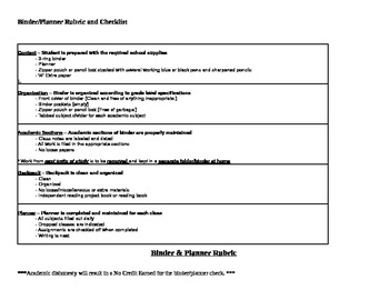 Binder, Planner, and Backpack rubric