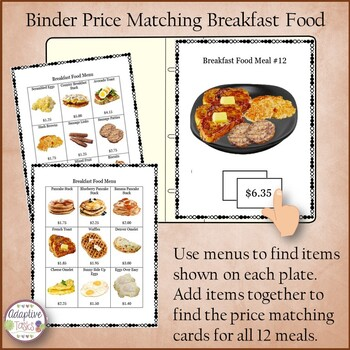 Binder Price Matching Task-Breakfast Food
