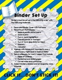 Binder Set Up (perfect for AVID students)
