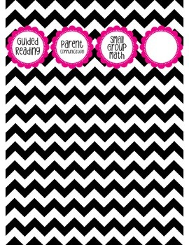 "Binder Spine Set (2"") - Black & White Chevron with Magenta"
