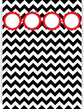 "Binder Spine Set (2"") - Black & White Chevron with Red Customizable Label"
