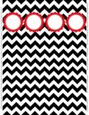 "Binder Spine Set (2"") - Black & White Chevron with Red Cus"