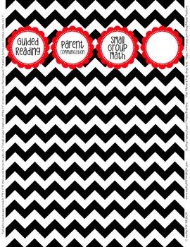 "Binder Spine Set (2"") - Black & White Chevron with Red Labels (Set 2)"