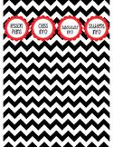"Binder Spine Set (2"") - Black & White Chevron with Red Labels (Set 1)"