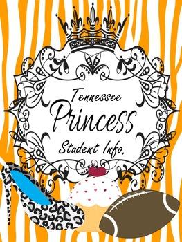 Binder Tennessee Orange Pretty Princess Teacher Totebook