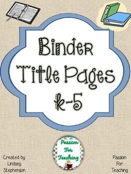 Binder Title Pages K-5