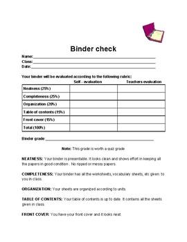 Binder check