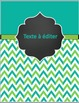 Binder covers - Green and Turquoise-EDITABLE/ Couvertures de cartable à éditer