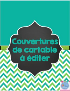 Binder covers - Green and Turquoise-EDITABLE/ Couvertures