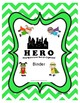 Binder covers with acronyms for sports, circus, construction & superhero themes
