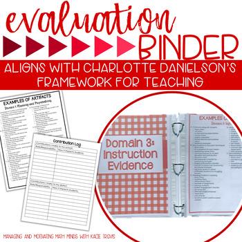 Charlotte Danielson Teacher Evaluation Binder Red Theme