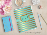 Turquoise and Gold Binder for Principal, Assistant Principal