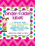Binder or Folder Labels {Coordinate with Editable Teacher/Student Binder Covers}