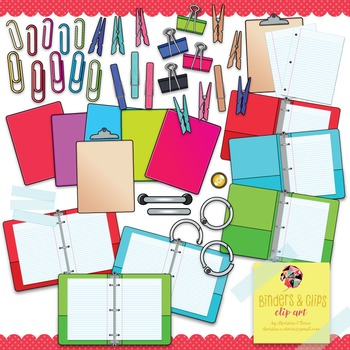 Binders and Clips Clip Art Set