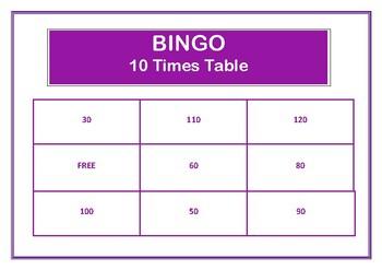 Bingo 10 Times Table Game