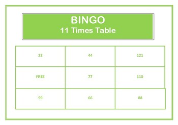 Bingo 11 Times Table Game