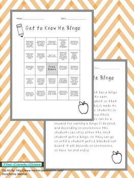 Back to School Activity, Get to Know Me Bingo!