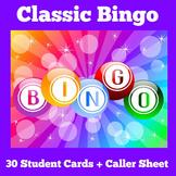 BINGO | Classroom Classic Bingo Game | Kindergarten 1st 2n