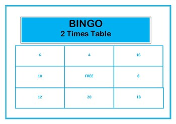Bingo 2 Times Table Game