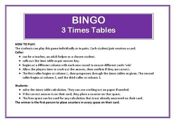Bingo 3 times table game