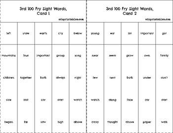 Bingo! 3rd 100 Fry Sight Words